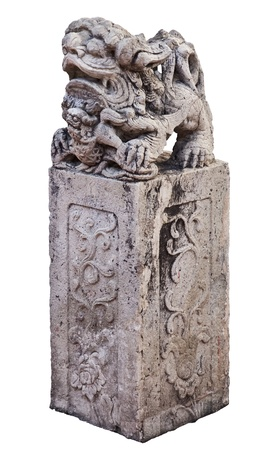 stone singha on square pillar