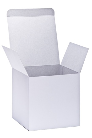 blank white paper box isolated on white background