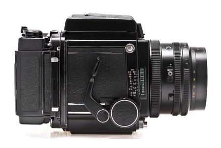used japan medium format camera on white background Stock Photo - 12859504
