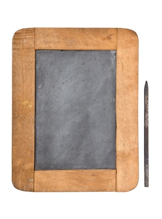 wooden frame slate board with pencil on white background photo