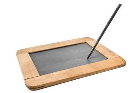 wooden frame slate board with pencil on white background