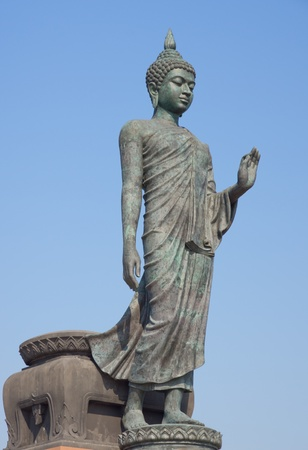 revere: Big standing Buddha image at Phutthamonthon, Thailand Stock Photo