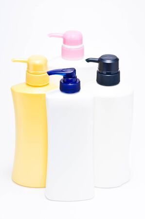 various plastic pump bottle without label on white background  Stock Photo - 13550655