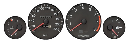 set of car gauge  Tachometer, speedometer, fuel meter, radiator temperature meter Stock Photo - 15303605