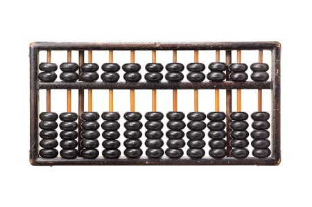 aged wooden abacus on white background photo