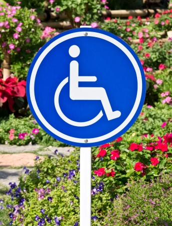 Blue and white handicap accessible sign Stock Photo
