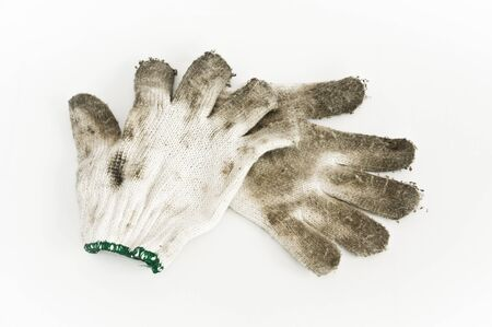 pair of  Dirty old cloth gloves Stock Photo - 19137845
