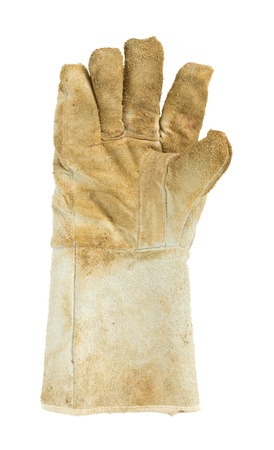 Dirty old leather gloves, right hand Stock Photo - 19137822