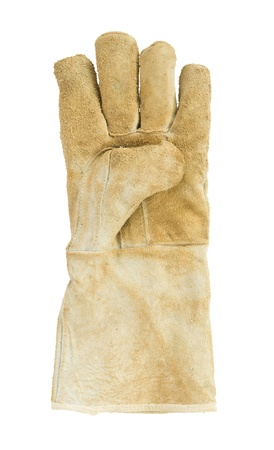 Dirty old leather gloves, left hand Stock Photo - 19137816