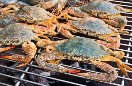 crabs on charcoal grill photo