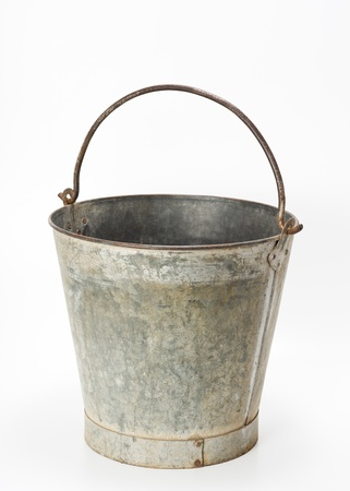wornout: worn-out Metallic bucket