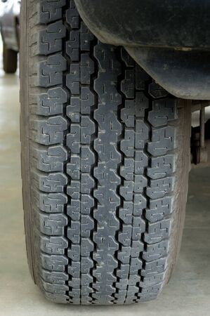 installed: car tire that installed in the truck Stock Photo