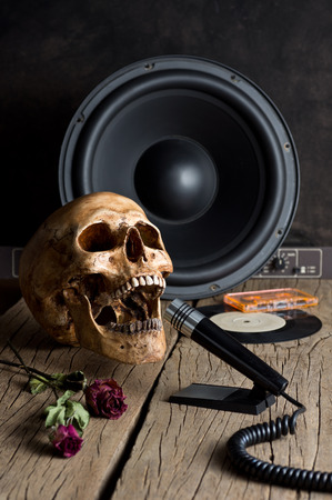 Still life photography, human skull with microphone and loudspeaker in announcer concept photo
