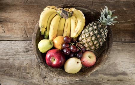 still life photography , many fruit in old wood tray