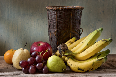 still life photography , many fruit with basket
