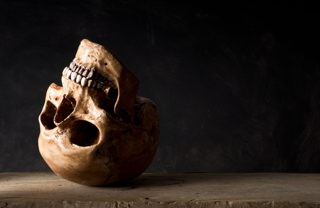 Still life photography, upside down human skull leave at old wood on dark background with space for text