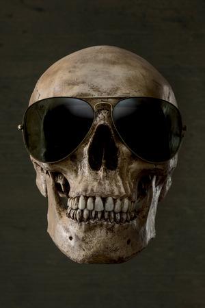 Human skull wearing sunglasses