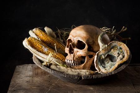 Still life photography,human skull with moldy pumpkin, radish and corn on wood plank Stock Photo