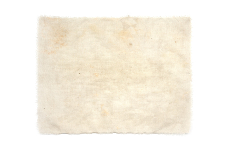 old weathered grungy fabric on white Stock Photo