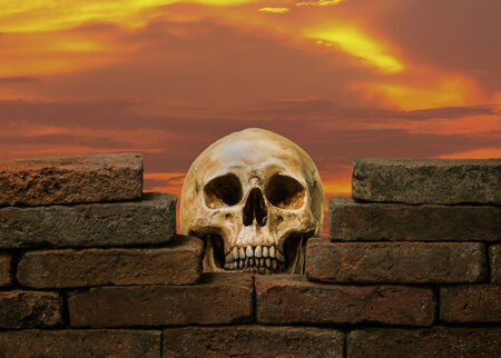 human skull behind the hole of old brick wall against twilight sky