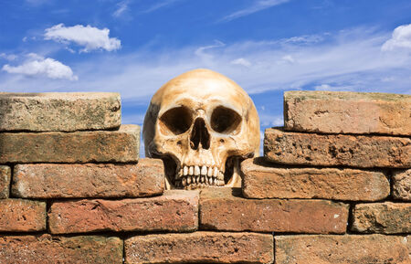 human skull behind the hole of old brick wall against blue sky