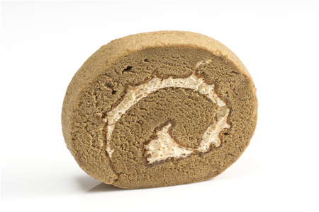 cream filling coffee  roll cake  on white background
