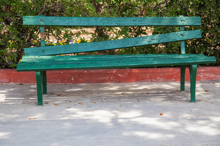 gree: Badly fixed bench made with gree wood panels Stock Photo