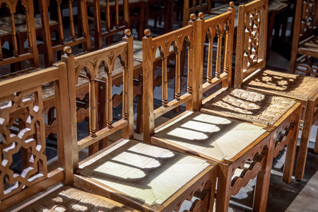 curch: Line of wood chairs in a christian curch Stock Photo