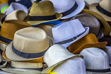 toulon: Group of colored hats for sale, french market in Toulon
