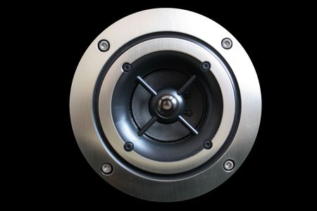 musik: The midle speaker isolated on a black background silvery - black, round