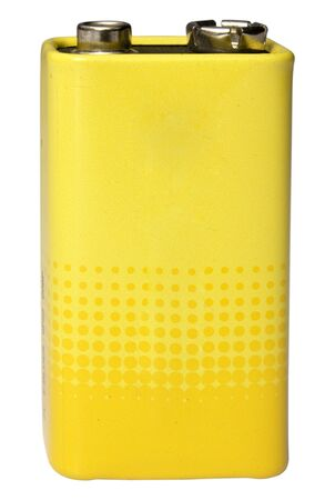 9 volt battery yellow color on a white background