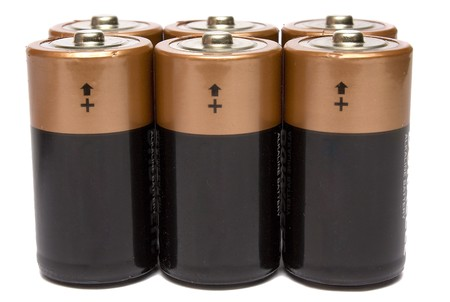 expressing: six batteries on a white background it is isolated