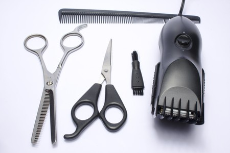 Barber work tools on white background  Stok Fotoğraf