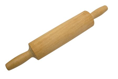 flatten: Wood rolling pin is isolated on white