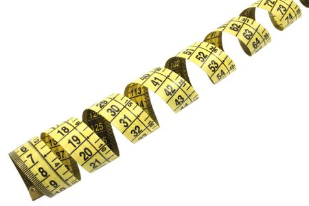 yellow tape measure isolated on white with pach photo