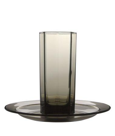 empty brown glass and plate isolated on white background photo