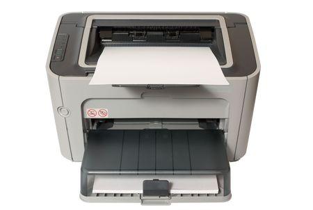 회색 사무용 레이저 프린터 화이트 절연 스톡 콘텐츠