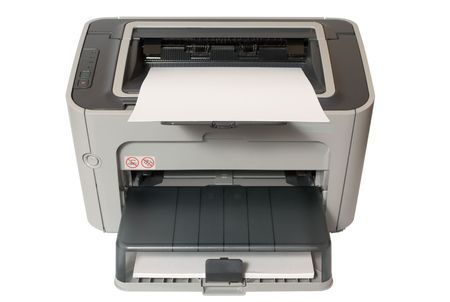 gray office laser printer isolated on white  photo
