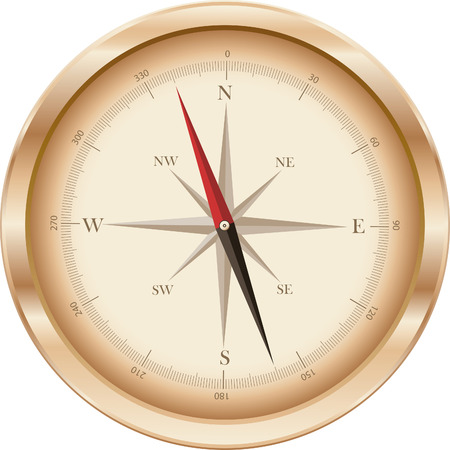 thoroughfare: the compass in gold colors on white background