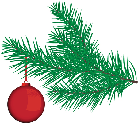 man made object: vector Red Bauble on a Christmas Tree branch  Illustration