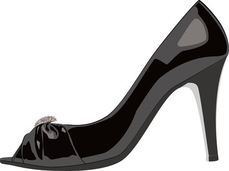 Black High Heels Shoe isolated on white background Vector