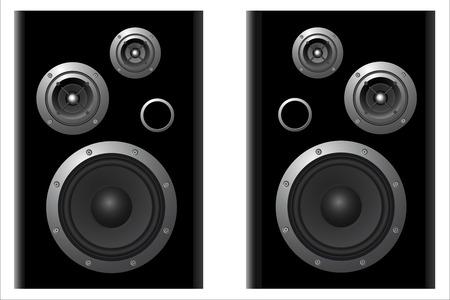 subwoofer: due sistemi di altoparlanti vektor su sfondo bianco