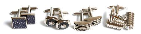 cufflinks: stainless steel cufflinks isolated on white background