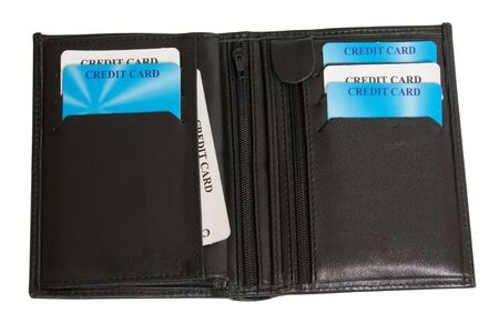 opened black leather wallet with credit cards isolated on white photo