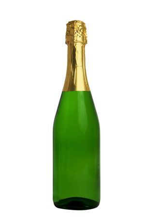 The closed bottle of champagne without a label