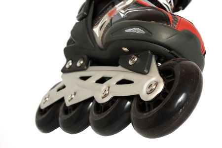part of Roller skate isolated on white background photo