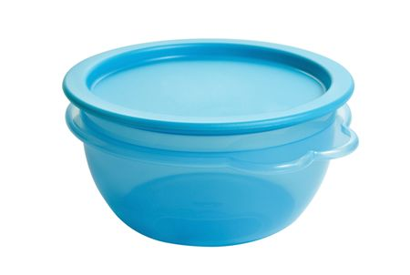 storage bin: plastic food container like tupperware isolated on white background Stock Photo