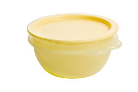 tupperware: plastic food container like tupperware isolated on white background Stock Photo