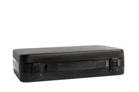 black briefcase: el malet�n negro aislado sobre fondo blanco
