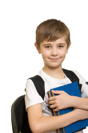 10 years old: 10 years old boy with a backpack isolated on white background